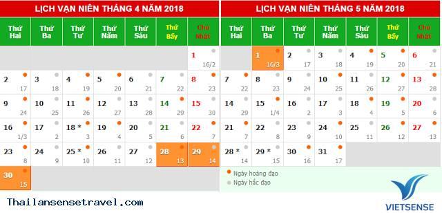 Lịch nghỉ lễ 30/4 - 1/5 năm 2018